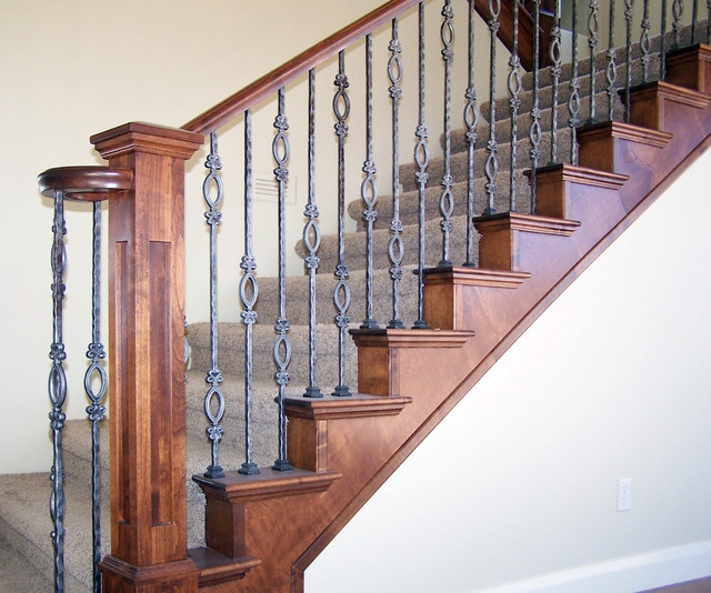Wood Railing With Wrought Iron Balusters American Traditional | Iron And Wood Staircase | Traditional | Spiral | White | Internal | Cherry Wood