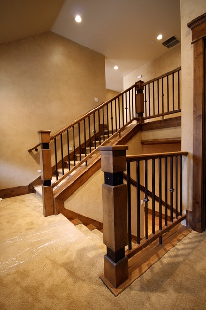Wood Railing With Wrought Iron Balusters American Traditional | Wrought Iron And Wood Railing | Iron Baluster | Rustic | Split Foyer | Horizontal | Banister