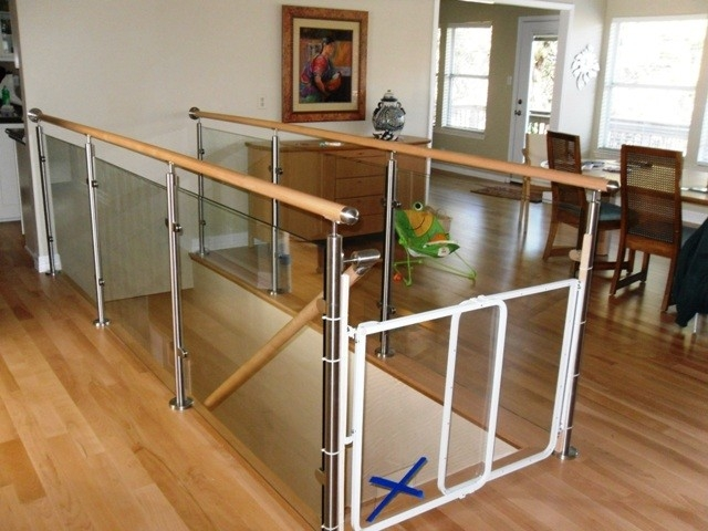 Wood Stairs And Stainless Steel Glass Railings Contemporary   Wood And Glass Staircase Railing   Before And After   Oak   Beautiful   Traditional U Shaped   Custom