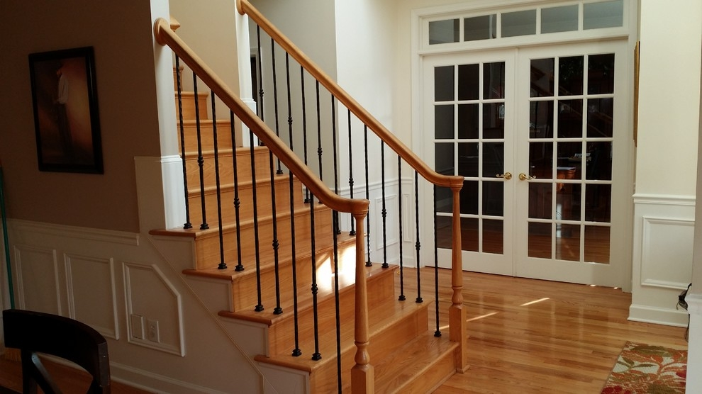 Wrought Iron Baluster Transformations Traditional Staircase | Wrought Iron Baluster Designs | Rot Iron Staircase | Rod Iron | Metal Rail | Stair Railing | Replacement