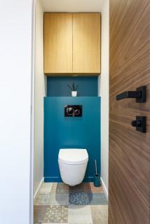 wc et toilettes avec un mur bleu