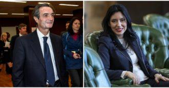 Education Minister Lucia Azzolina and Lombardy Governor Attilio Fontana under escort: