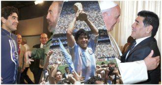 """La sua vita in 10 scatti: Napoli, il trionfo mondiale, l'abbraccio a Bergoglio, Fidel Castro, Chavez e il """"gol del secolo"""" all'Inghilterra"""