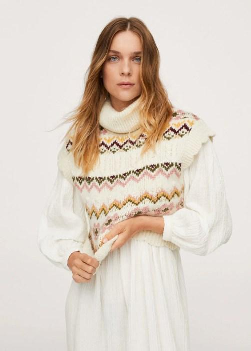Turtleneck knitted gilet - Mango