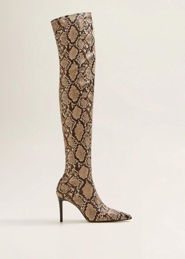 Snake effect high-leg boots