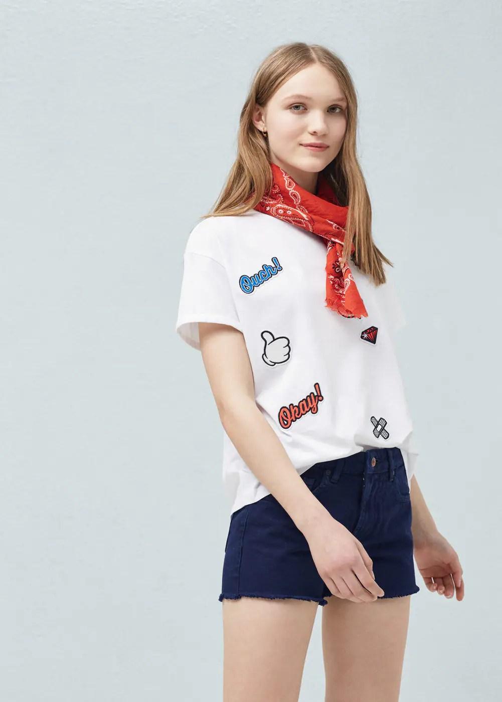 Decorative patches t-shirt | MANGO