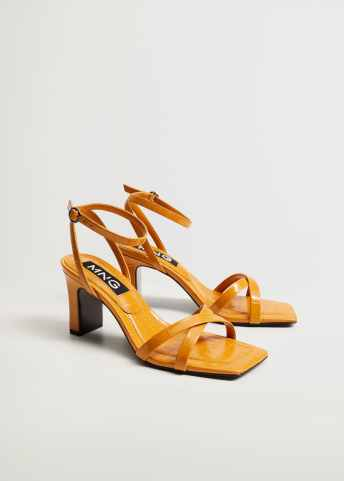 Heel croc-effect sandals - Medium plane