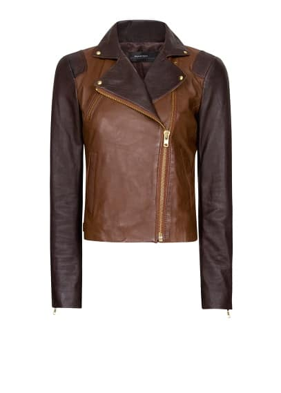 Two-tone leather jacket