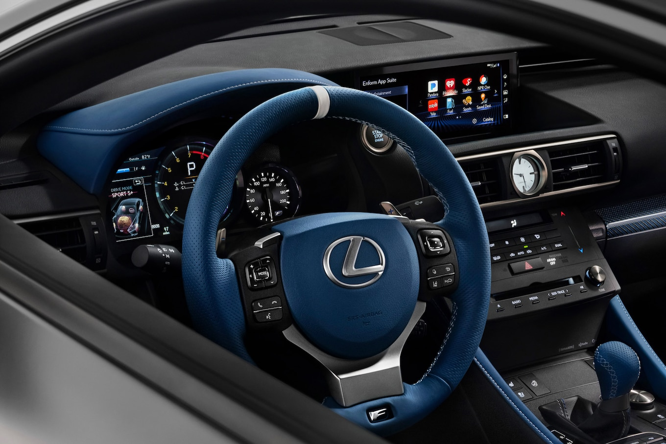 Lexus Says The RC F Coupe Features Blue Leather Front Sport Seats With  White Accents, A Blue Shift Knob, Steering Wheel, Instrument Panel Hood, ...