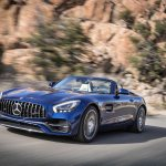 2018 Mercedes AMG GT Roadster front three quarter in motion
