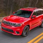 2018 Jeep Grand Cherokee Trackhawk front three quarter in motion 02 1