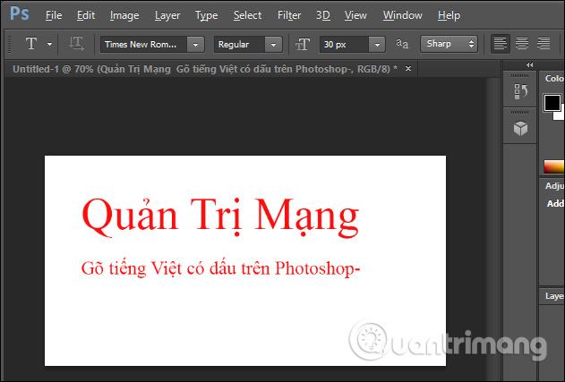 Gõ tiếng Việt trên Photoshop