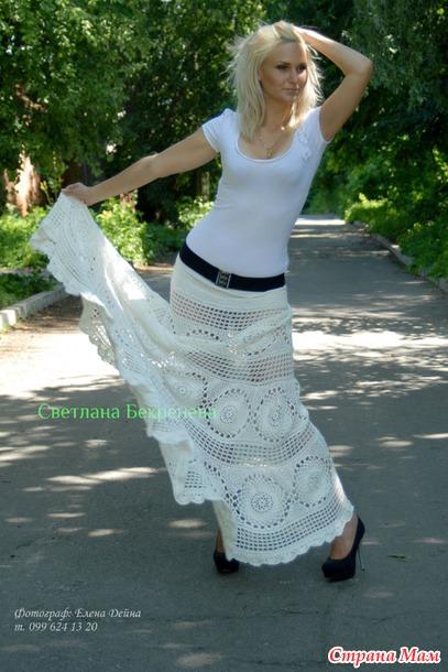 Летняя юбка-загадка в пол крючком