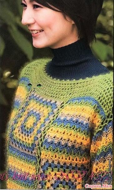 Яркий пуловер из бабушкиных квадратов. Крючок.
