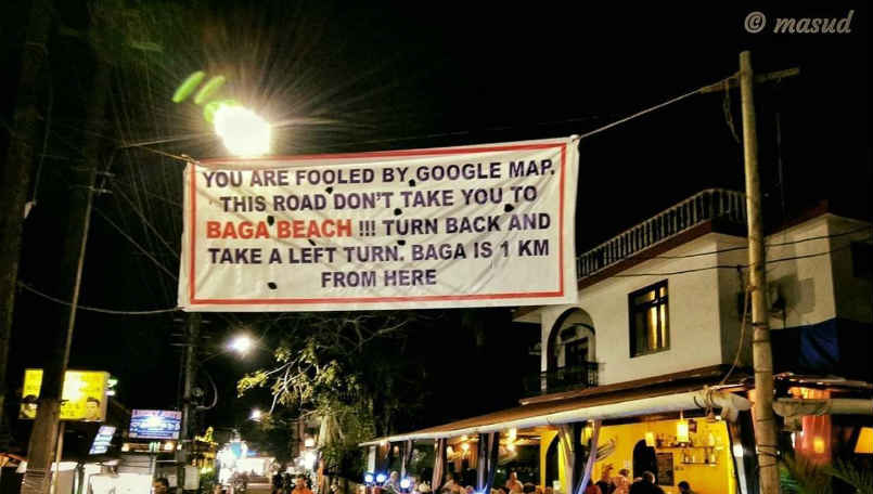 Goa: A banner spotted warning travelers against using Google Maps for directions