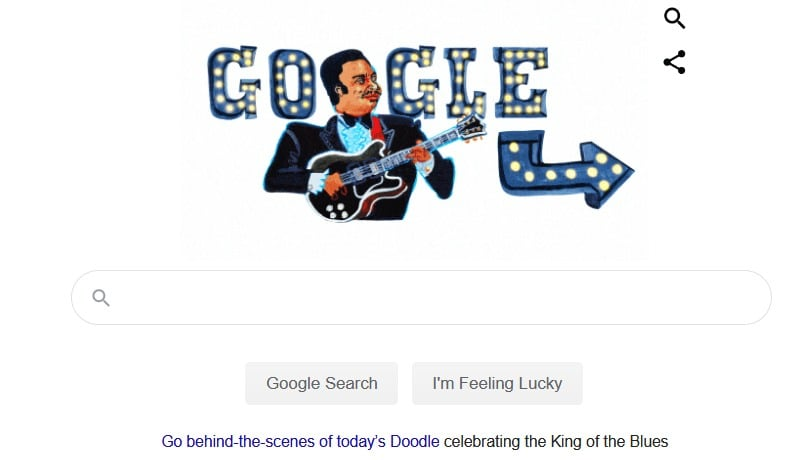 B.B. King's 94th birthday celebrated with a Google Doodle