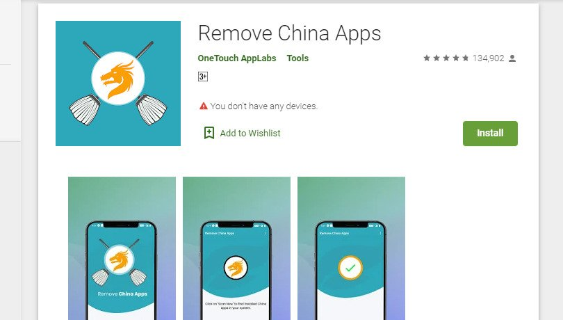 Remove China Apps crosses 1 million downloads on Google Play Store
