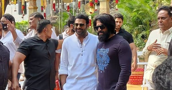 Prabhas and Yash pose together at the Puja ceremony and we cannot keep calm
