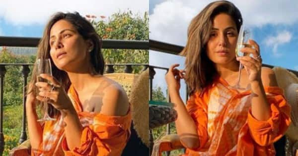 Hina Khan looks surreal as she enjoys the sunset by sipping some wine – view pics