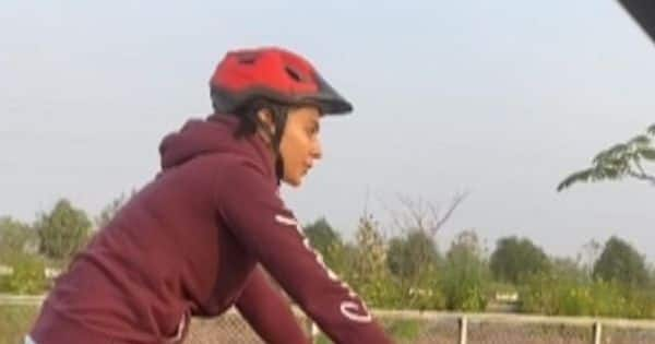 Rakul Preet gives us fitness goals as she reaches MayDay set on a cycle – watch video
