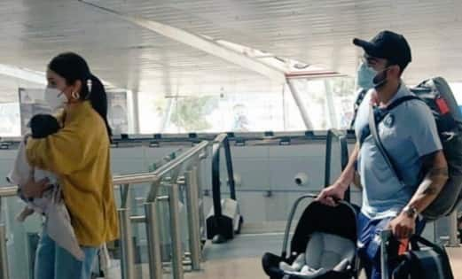 Anushka Sharma and Virat Kohli spotted at the airport with baby Vamika — view pic