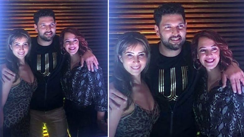 Yuvraj Singh's Retirement Party: Kim Sharma Happily Poses With the