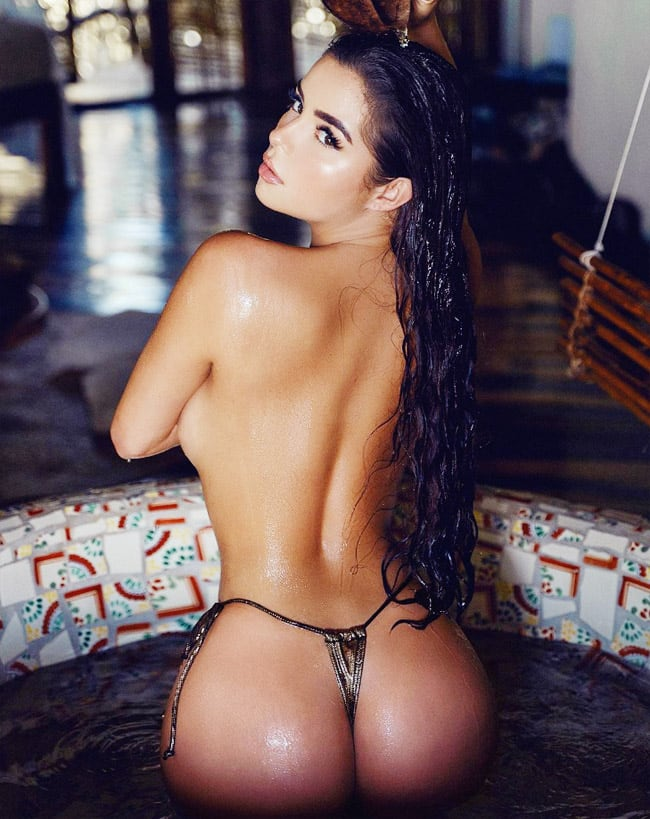 Demi Rose slaunts her sexy back in topless shoot