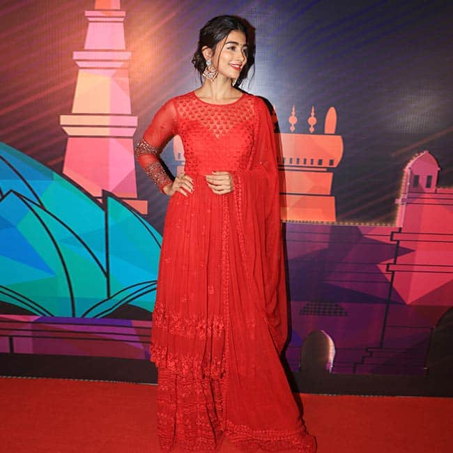 Pooja Hedge Looks Stunning in Red at the Miss India Unveiling Event