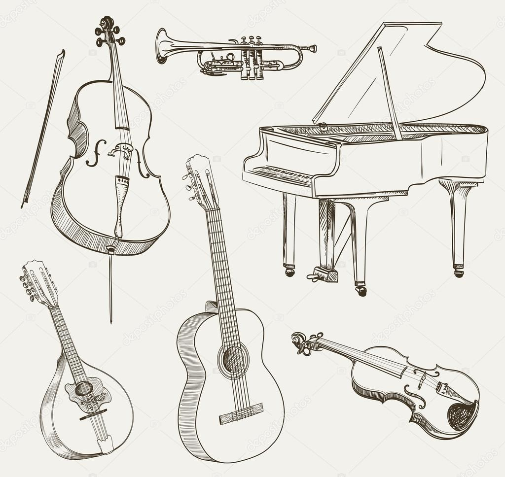 Muzik Aletleri Cizimleri Kumesi