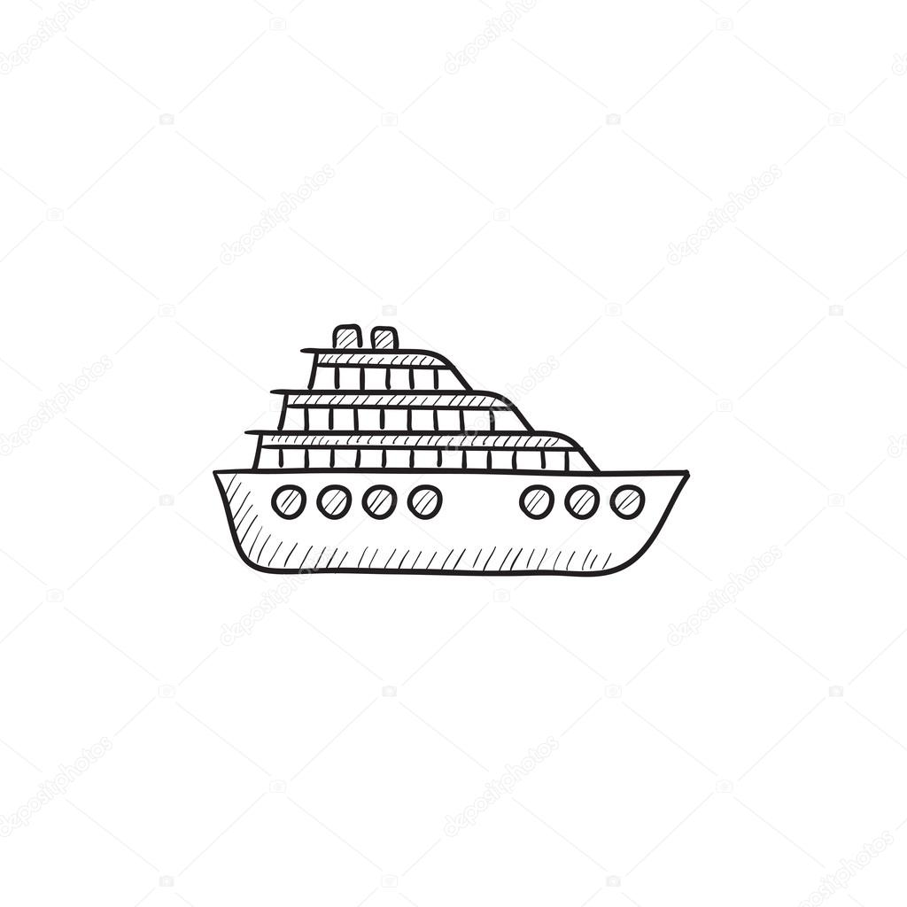 Kreuzfahrt Schiff Skizze Symbol