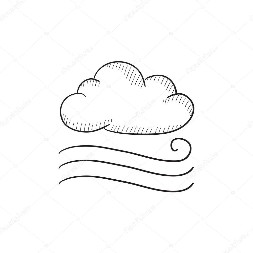 Windy Cloud Sketch Icon