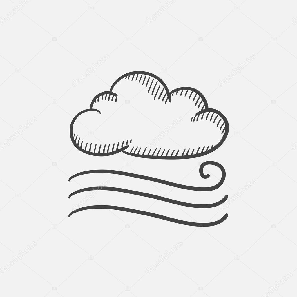 Windy Cloud Sketch Icon