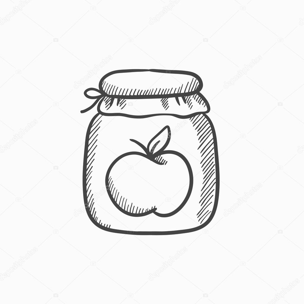 Apple Jam Icono De Esbozo De Tarro