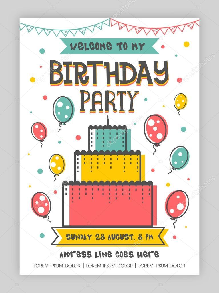 birthday party invitation card design vector image by c alliesinteract vector stock 113113604