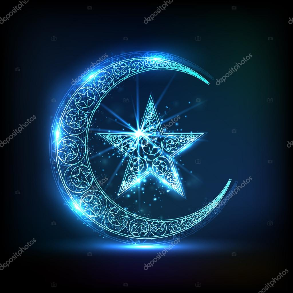 Glossy Crescent Moon With Star For Eid Celebration