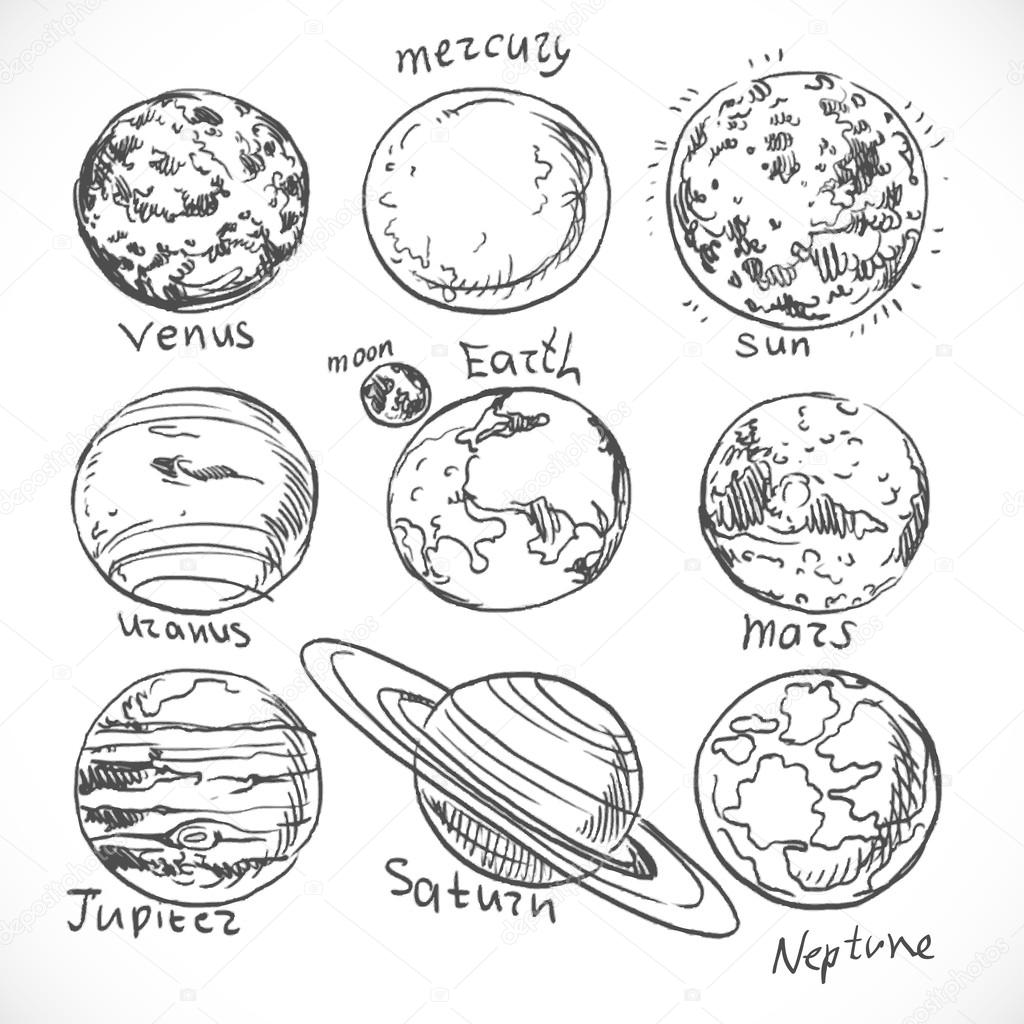 Doodle Planets Of The Solar System Isolated On White