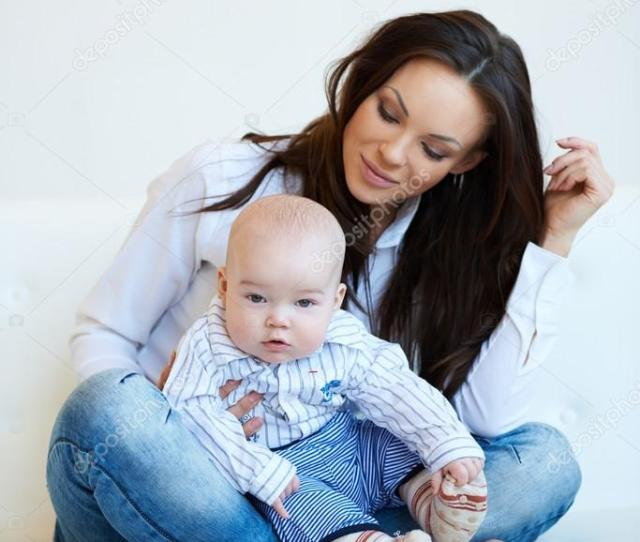 Pretty Mom With Cute Baby Boy Stock Photo