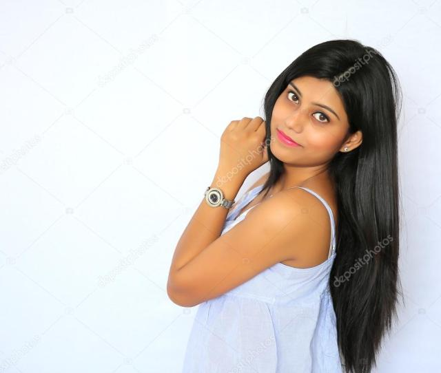 Portrait Of Stylish Young Indian Girl On A White Background Stock Photo