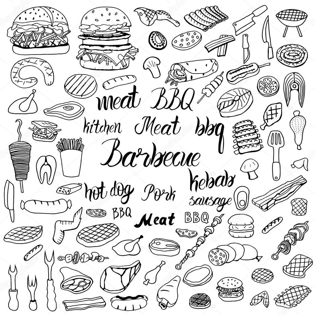 Doodle Bbq Party Icons Set