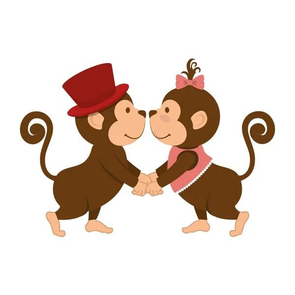 Download monkey couple love animal cartoon — Stock Vector ...