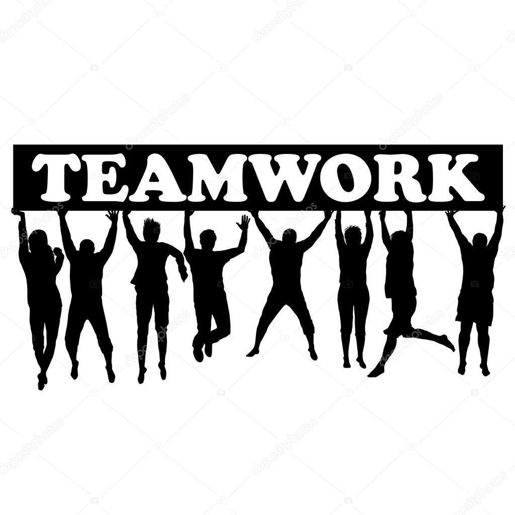 Teamwork Concept Women Jumping