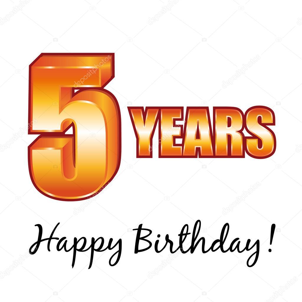 Happy Birthday 5 Years Old Vector Greeting Card Vector Image By C Albachiaraa Vector Stock 100581834