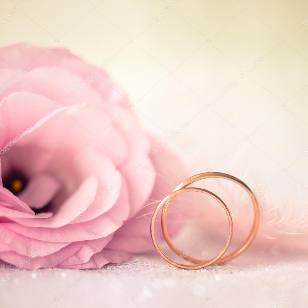 Love Wedding Background With Gold Rings And Beautiful