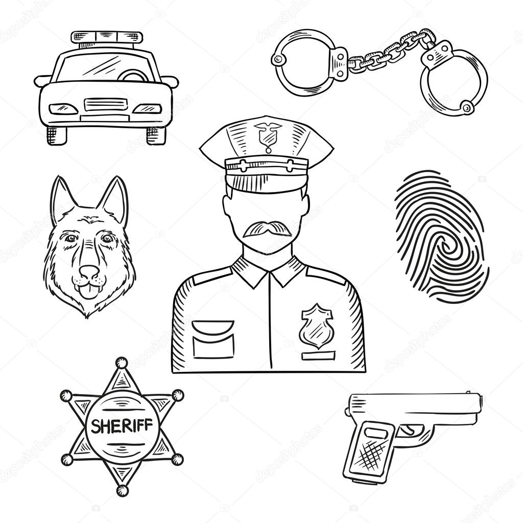 Police Officer Or Policeman Profession Sketch Icon