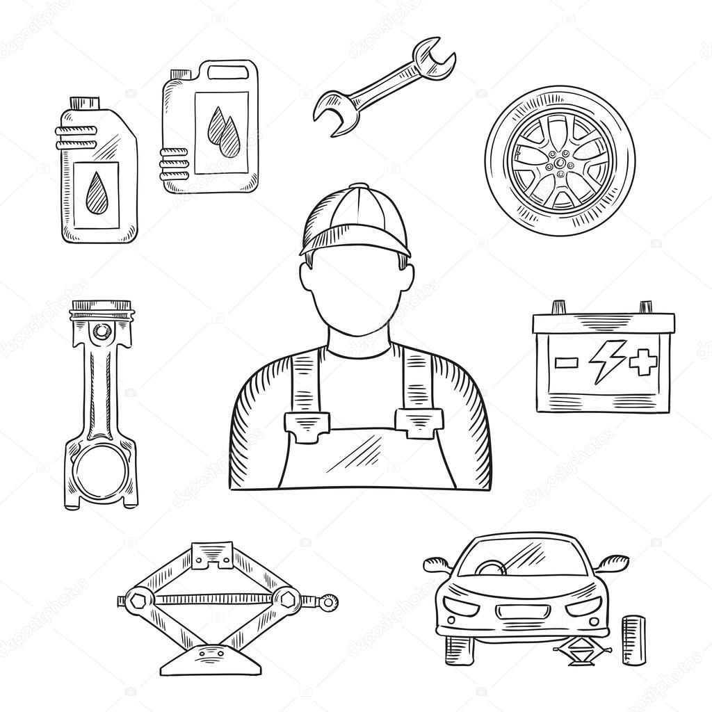 Simbolo De Esboco De Profissao Mecanico Auto