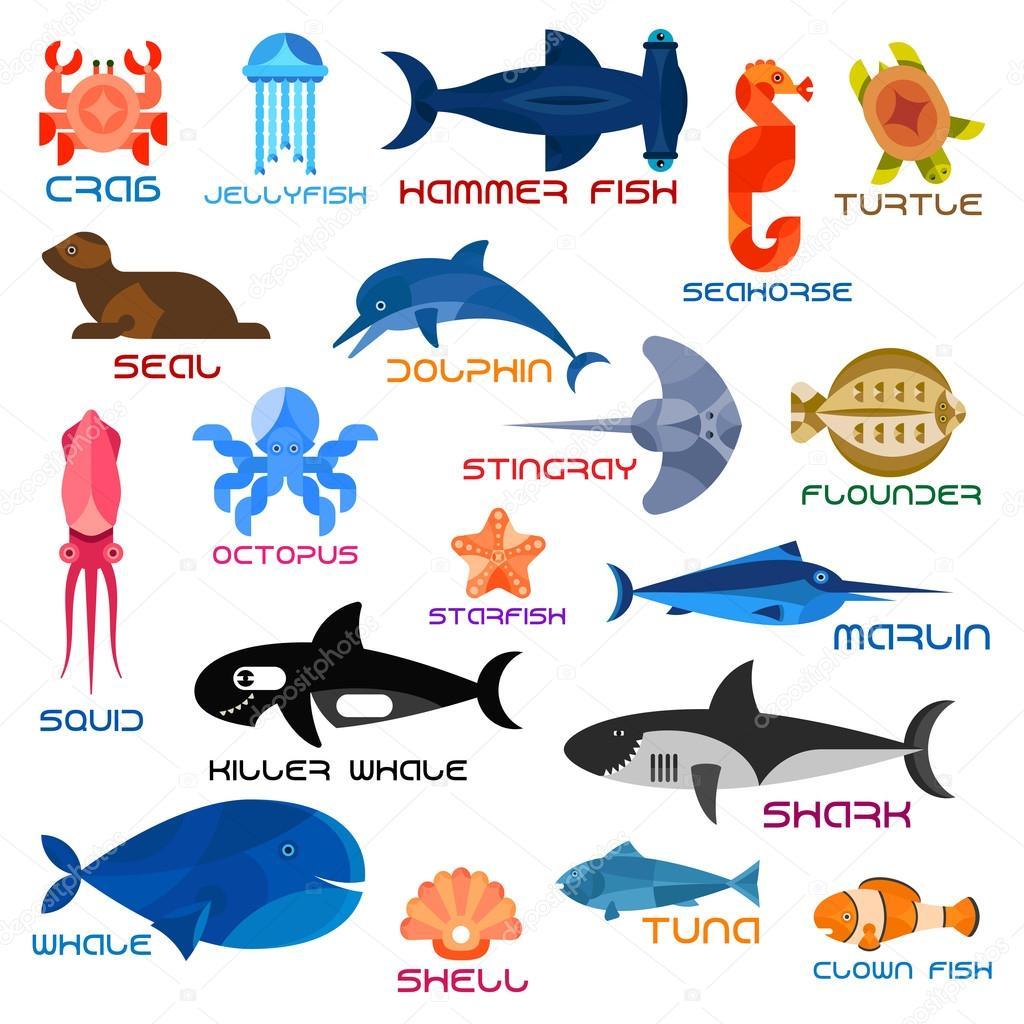 Oceanarium Ocean Animals And Fishes With Names