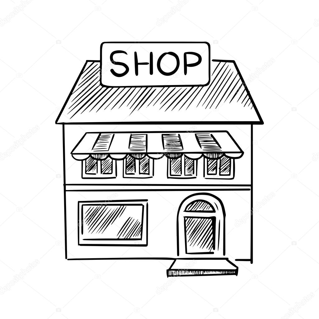 Store Sketch With Shop Signboard