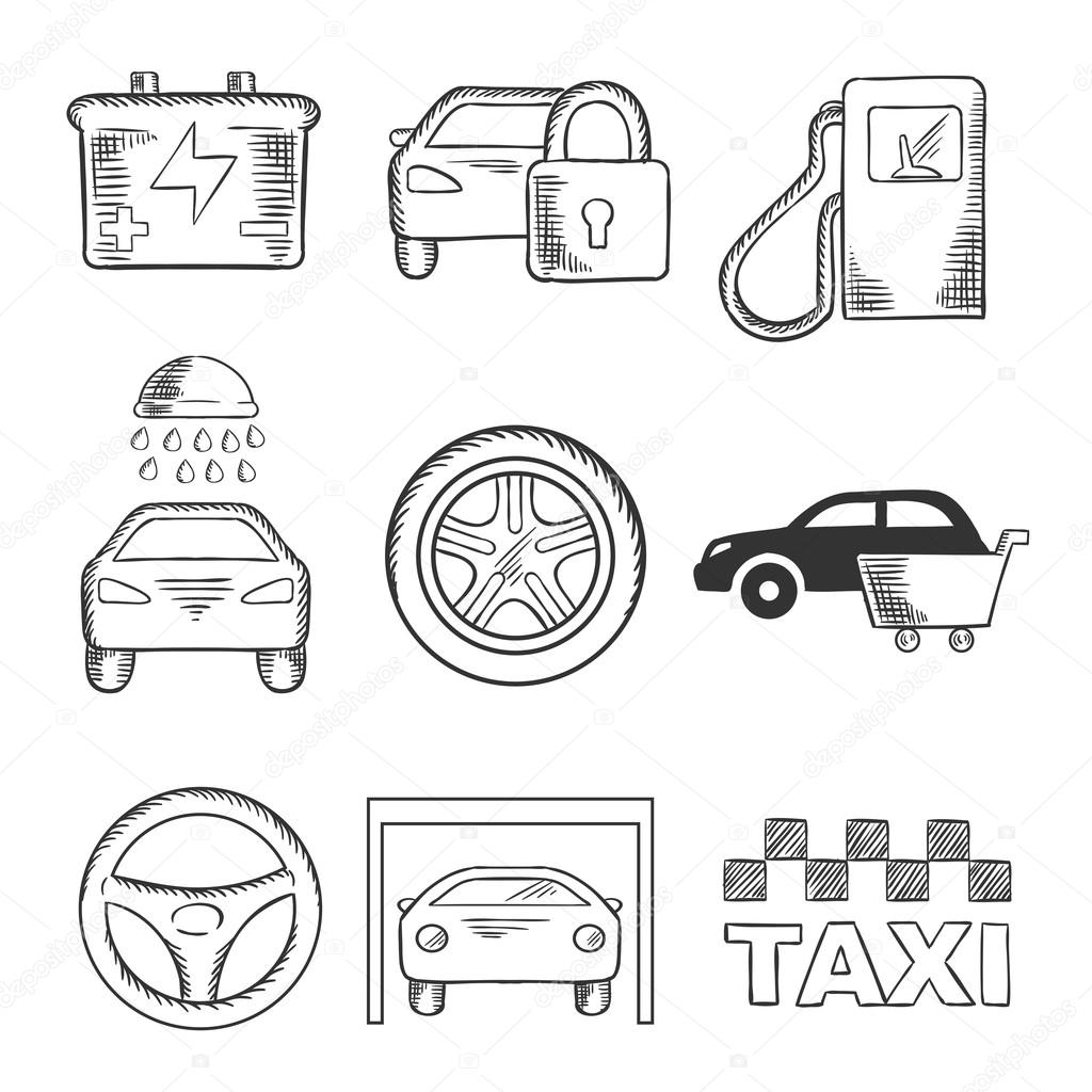 Sketched Car Service And Transportation Icons