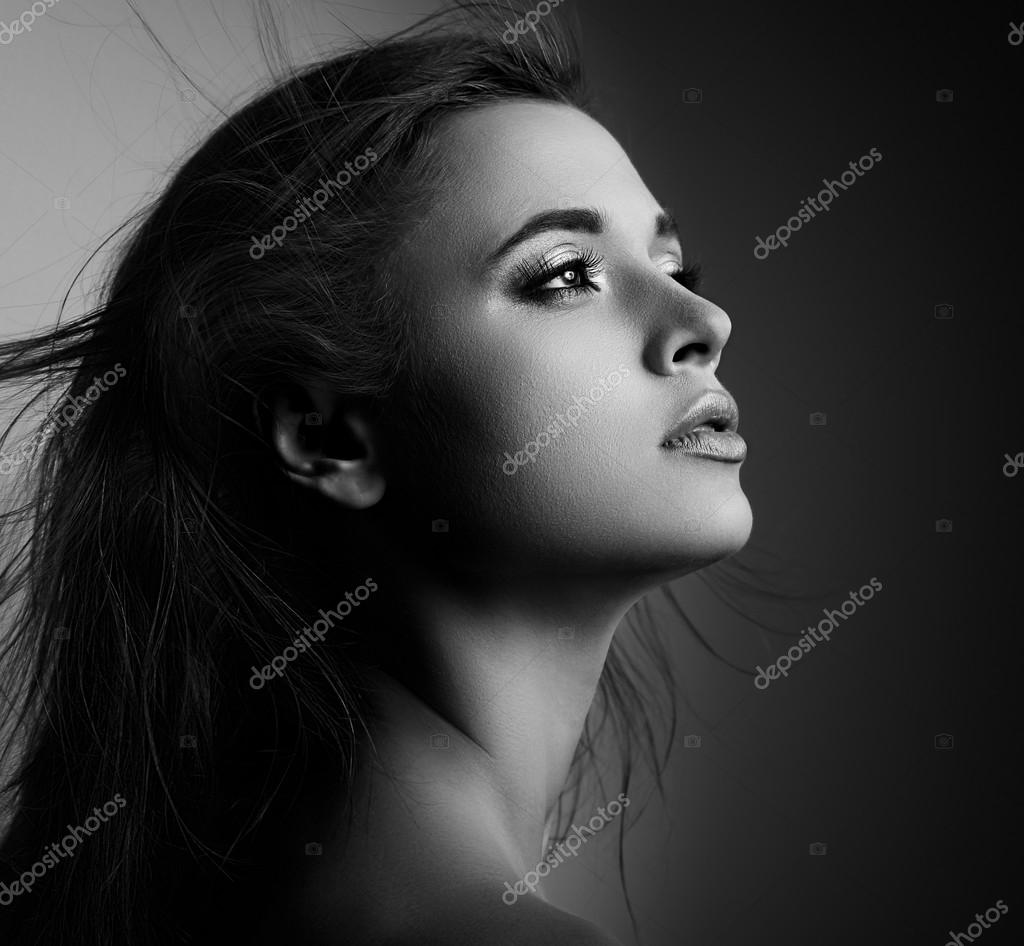 Beautiful Mystic Woman Profile With Long Hair Looking Black And Stok Foto C Nastia1983 82720548