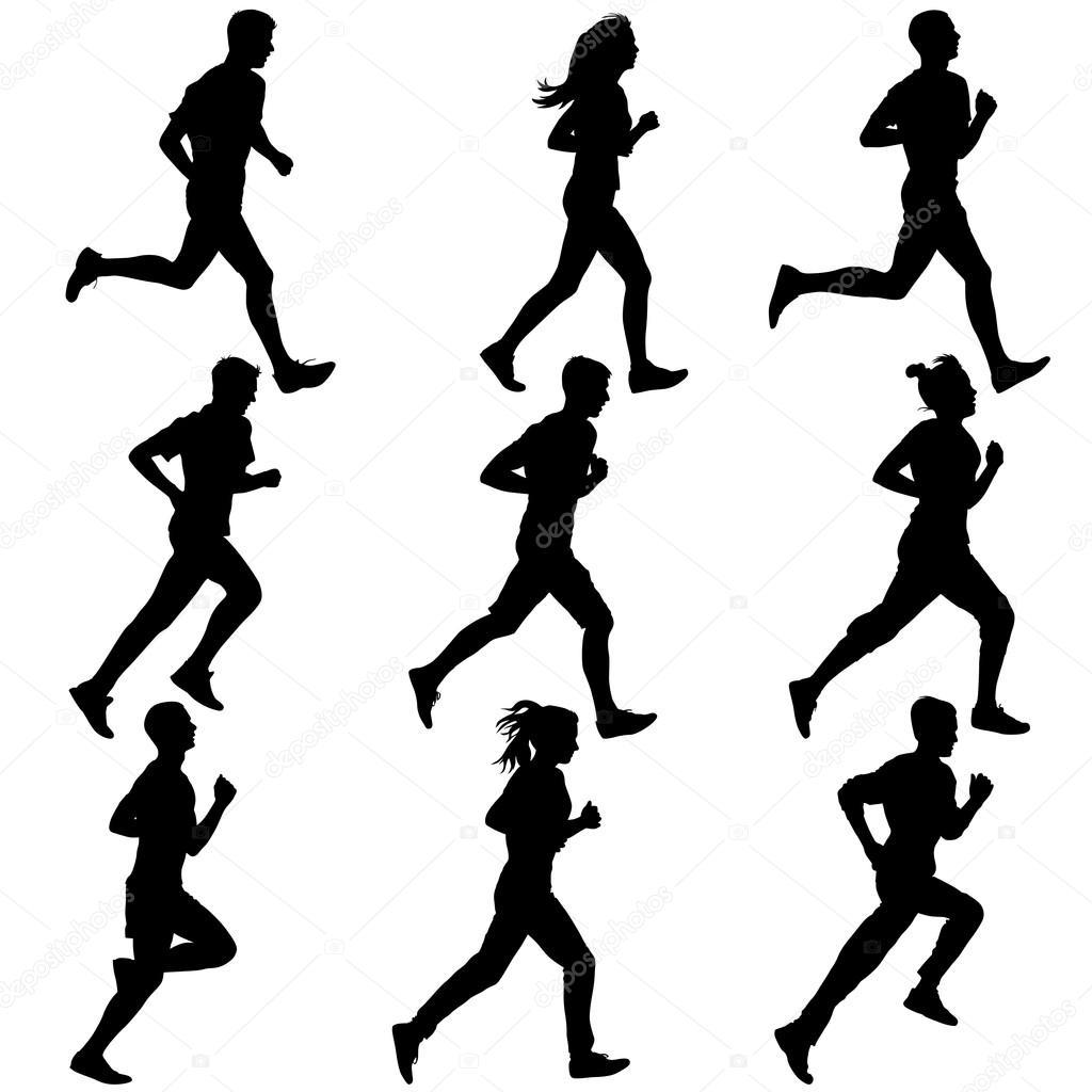 Ensemble De Silhouettes Coureurs Sur Le Sprint Les